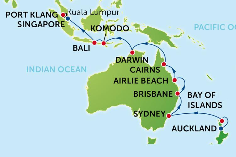 20 day Cruise to Australia and New Zealand from Auckland with – Auckland Australia Map